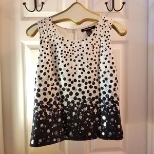 Ellen Tracy Sz 2 Silk Dot Sleeveless Blouse